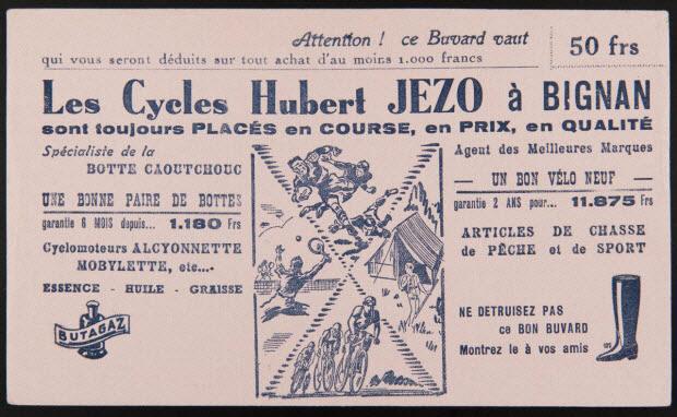 buvard publicitaire - Les Cycles Hubert JEZO à BIGNAN