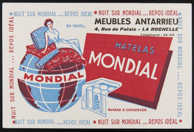 buvard publicitaire - MATELAS MONDIAL