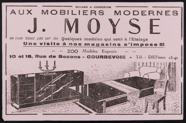 buvard publicitaire - AUX MOBILIERS MODERNES J. MOYSE