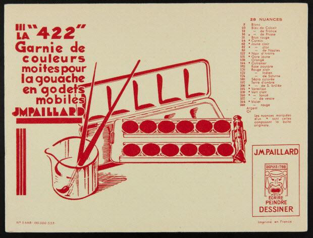 """buvard publicitaire - LA """"422"""" Garnie de couleurs moites pour la gouache en godets mobiles"""