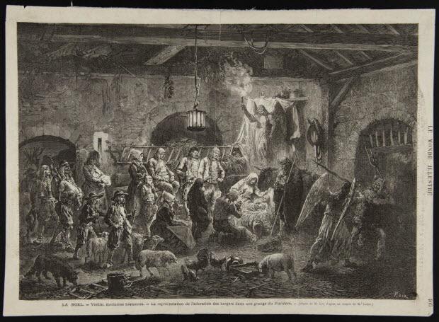 estampe - LA NOEL. - Vieilles coutumes bretonnes. - La représentation de l'adoration des bergers dans une grange du Finistère.