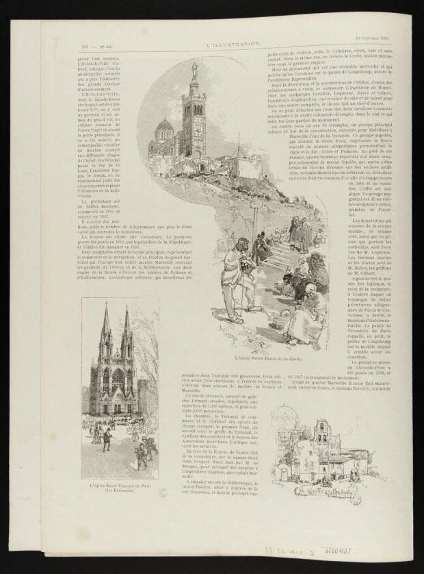 estampe - L'église Notre-Dame-de-la-Garde. L'église Saint-Vincent-de-Paul (les Réformés). La vieille Cathédrale