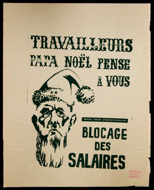 affiche - TRAVAILLEURS PAPA NOEL PENSE A VOUS