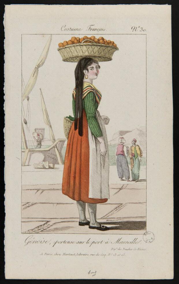 élément d'ensemble - Costume Français. Gênoise, porteuse sur le port à Marseille.