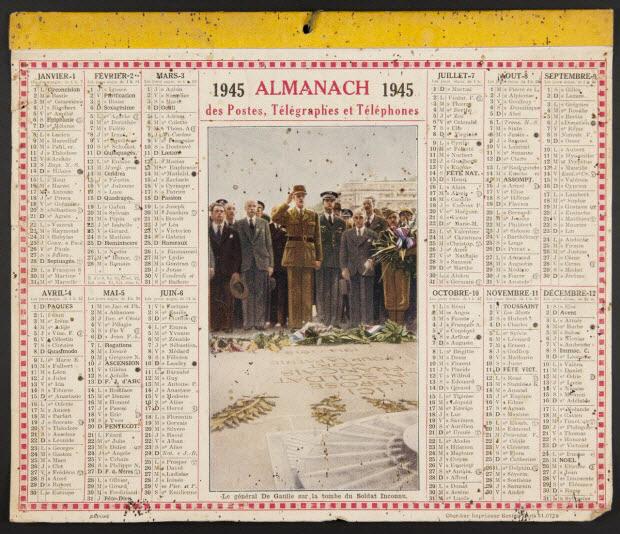estampe - ALMANACH des Postes et des Téléphones 1945