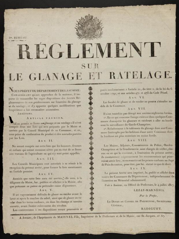 imagerie ancienne - REGLEMENT SUR LE GLANAGE ET RATELAGE