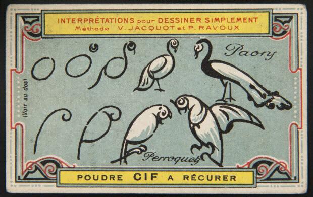 carte réclame - Interprétations pour Dessiner Simplement Méthode V. JACQUOT ET P. RAVOUX Paon Perroquet