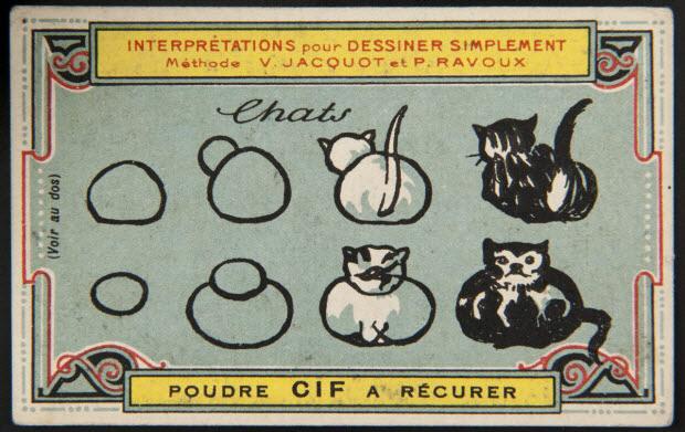 carte réclame - Interprétations pour Dessiner Simplement Méthode V. JACQUOT ET P. RAVOUX Chats