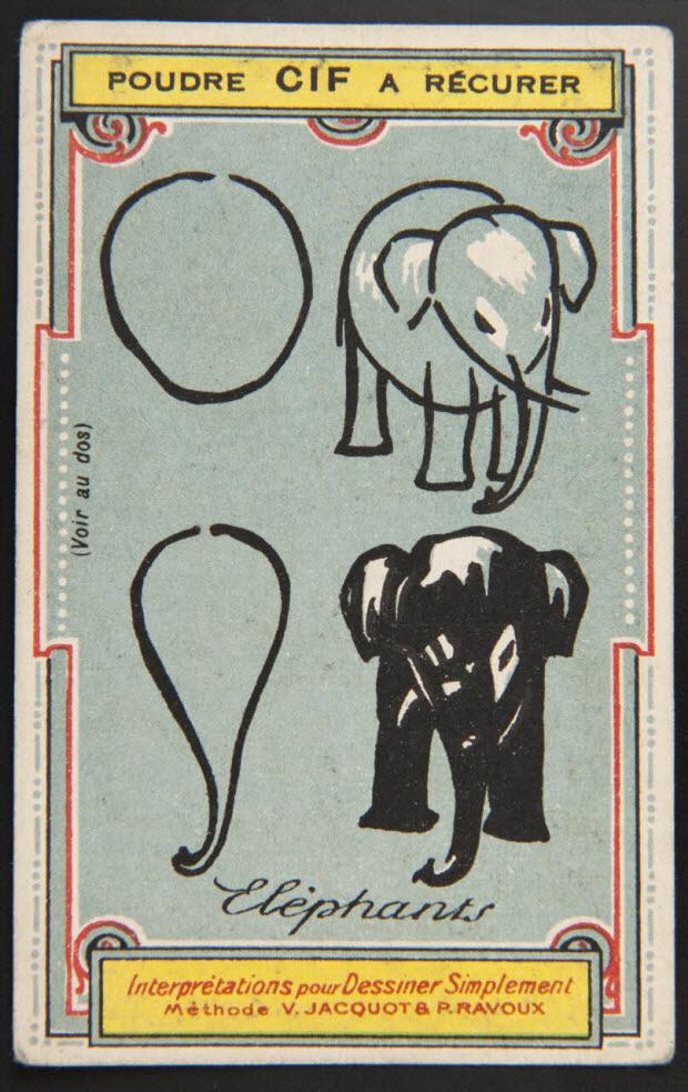 carte réclame - Interprétations pour Dessiner Simplement Méthode V. JACQUOT ET P. RAVOUX Eléphants