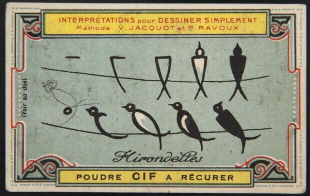 carte réclame - Interprétations pour Dessiner Simplement Méthode V. JACQUOT ET P. RAVOUX Hirondelles