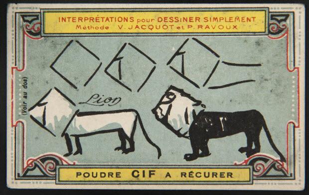 carte réclame - Interprétations pour Dessiner Simplement Méthode V. JACQUOT ET P. RAVOUX Lion