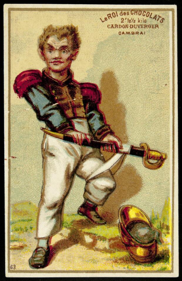 carte réclame - Jeune soldat avec son sabre