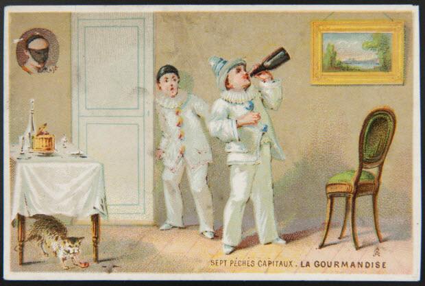 carte réclame - SEPT PECHES CAPITAUX . LA GOURMANDISE