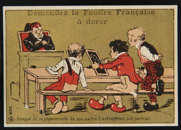 carte réclame - 4 Frappé de la physionomie de son maitre il entreprend son portrait.