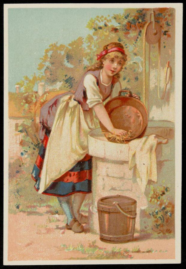 carte réclame - Jeune paysanne lavant une bassine à un puit