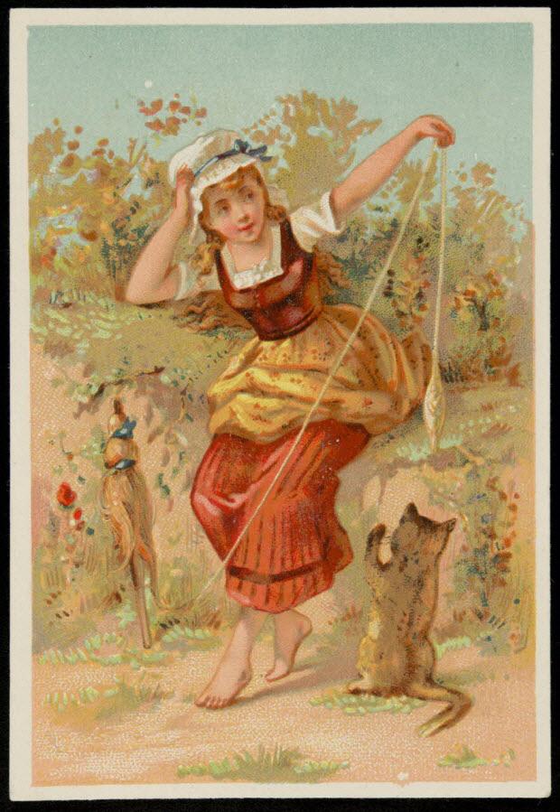 carte réclame - Jeune paysanne assise en train de filer de la laine