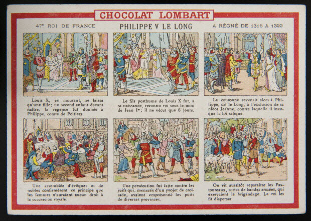 carte réclame - 47E ROI DE FRANCE PHILIPPE V LE LONG A REGNE DE 1316 A 1322