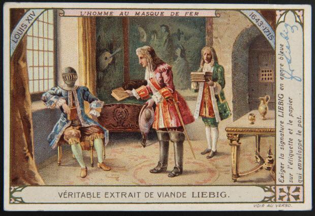 carte réclame - LOUIS XIV L'HOMME AU MASQUE DE FER 1643-1715