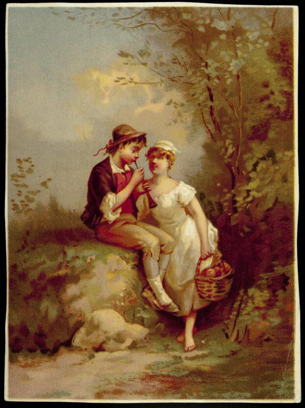 carte réclame - Couple à la flûte.