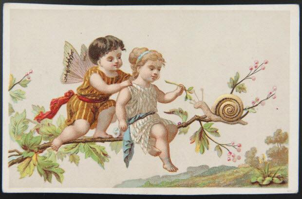 carte réclame - Enfants jouant avec un escargot