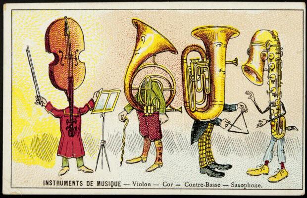 carte réclame - INSTRUMENTS DE MUSIQUE - Violon - Cor - Contre-Basse - Saxophone.