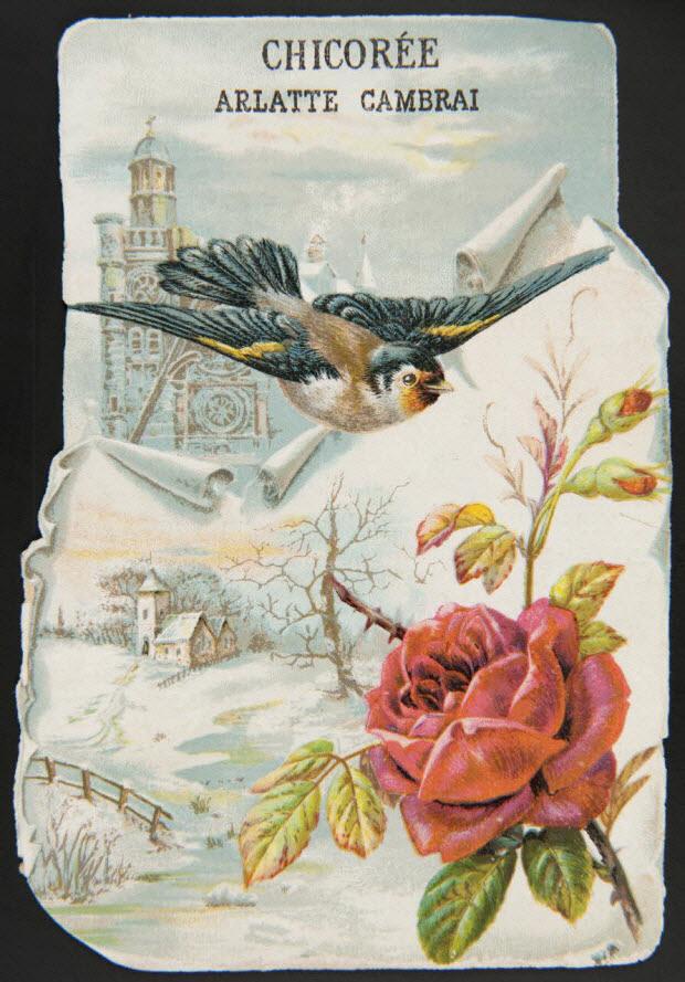 carte réclame - Oiseau, rose, paysage et toit d'église.