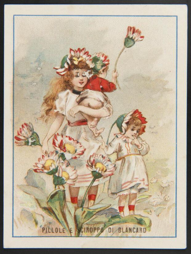 carte réclame - Fillettes costumées de pâquerettes