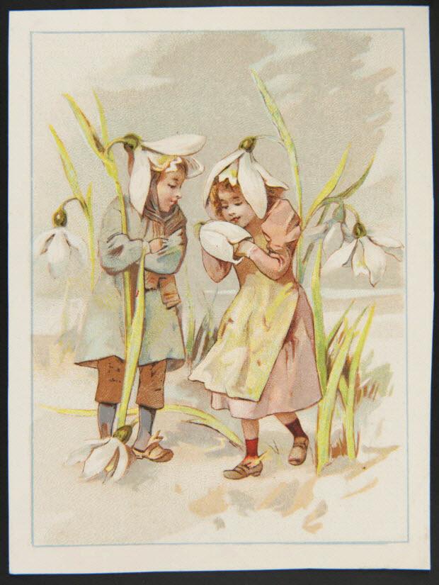 carte réclame - Enfants habillés de perce-neige
