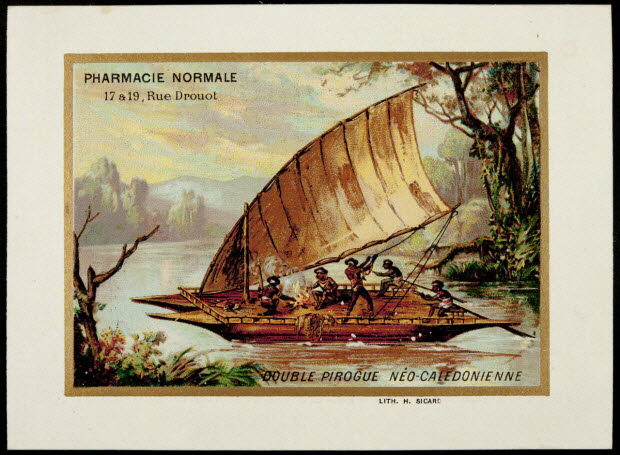 carte réclame - DOUBLE PIROGUE NEO-CALEDONIENNE