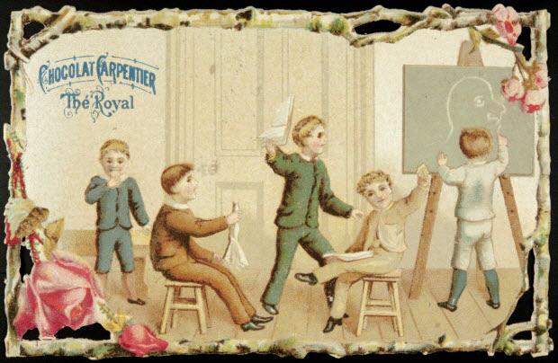 carte réclame - Garçons dans une salle d'école.