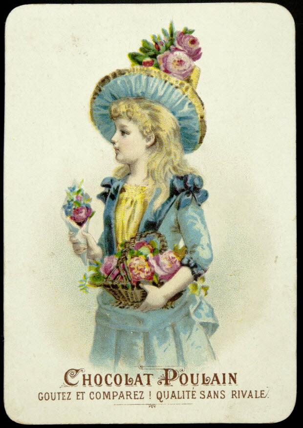 carte réclame - Une fillette de profil portant un panier et un cornet de fleurs