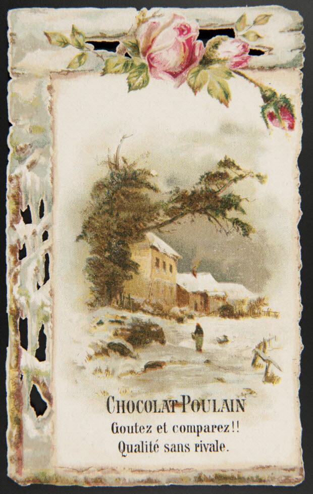 carte réclame - Rose et paysage enneigé avec maison