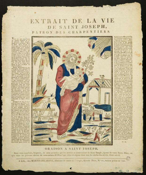 estampe - EXTRAIT DE LA VIE DE SAINT JOSEPH, PATRON DES CHARPENTIERS.