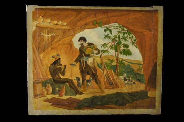 tableau - Robinson Crusoë dans sa caverne