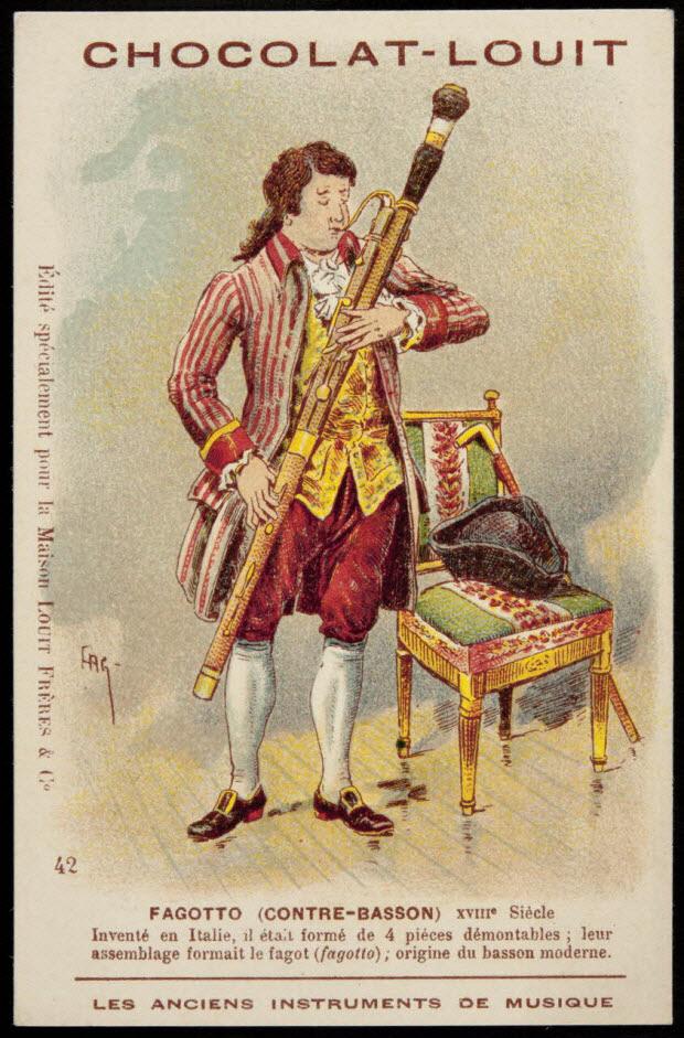 carte réclame - FAGOTTO (CONTRE-BASSON) XVIIIe Siècle