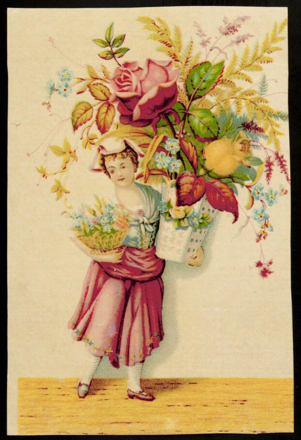 carte réclame - Jeune fille portant un énorme bouquet de fleurs