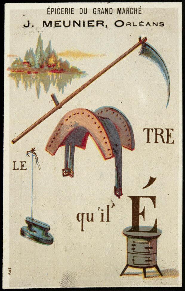carte réclame - Rébus : il faut battre le fer pendant qu'il est chaud