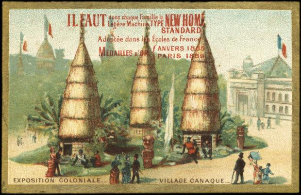 carte réclame - EXPOSITION COLONIALE. VILLAGE CANAQUE.