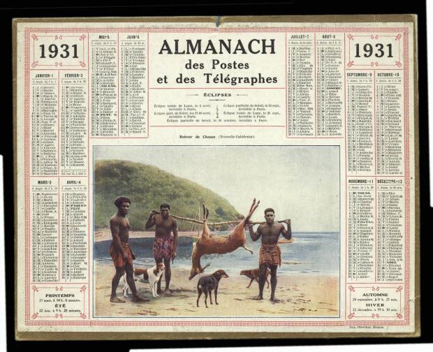 calendrier - 1931 ALMANACH des Postes et des Télégraphes Retour de Chasse (Nouvelle-Calédonie).
