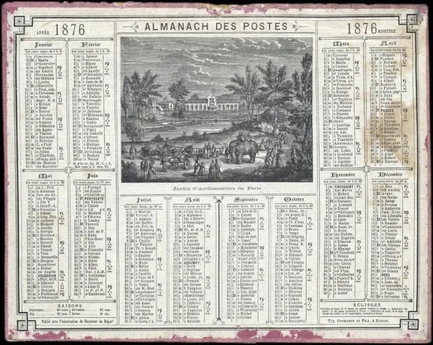 calendrier - ALMANACH DES POSTES 1876 ANNEE BISSEXTILE Jardin d'Acclimatation de Paris