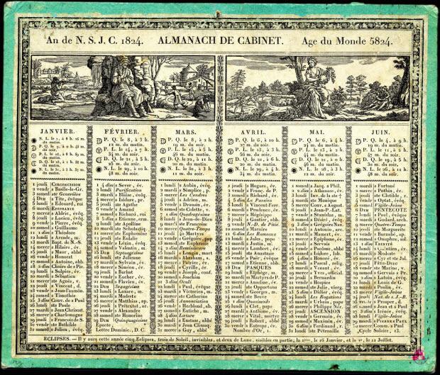 imagerie ancienne - AN DE N.S.J.C. 1824. ALMANACH DE CABINET. Age du Monde 5824.