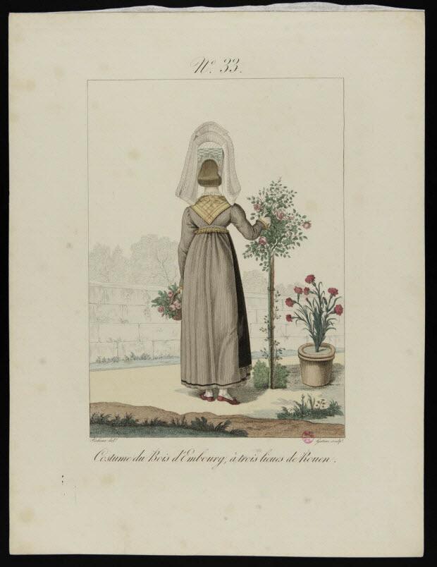 partie d'un ensemble d'estampes - Costume du Bois d'Embourg, à trois lieues de Rouen.