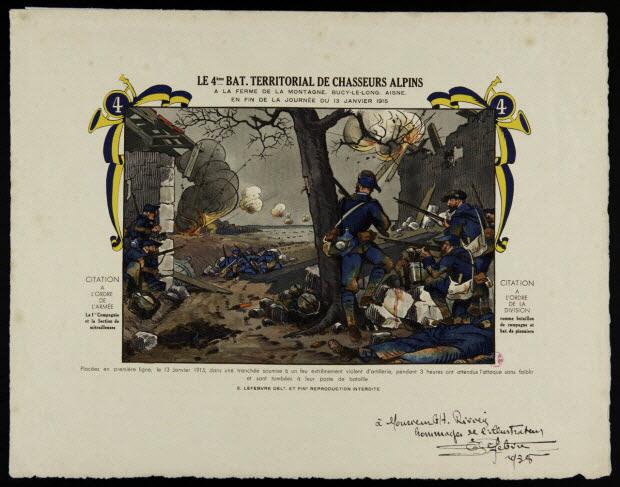 estampe - LE 4EME BAT. TERRITORIAL DE CHASSEURS ALPINS A LA FERME DE LA MONTAGNE. BUCY-LE-LONG. AISNE. EN FIN DE LA JOURNEE DU 13 JANVIER 1915