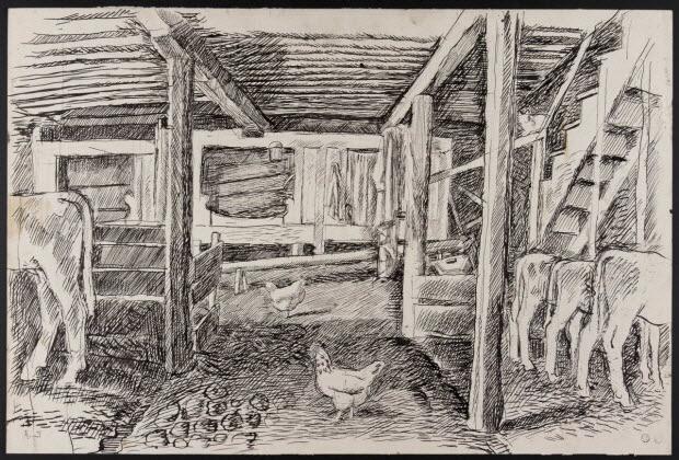 dessin double face - Ecuries aux granges à Rochefort-Montagne