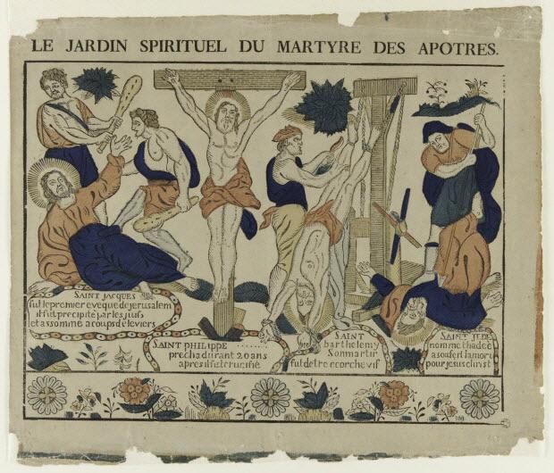 imagerie ancienne - LE JARDIN SPIRITUEL DU MARTYRE DES APOTRES.