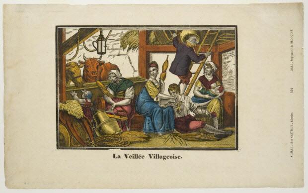 imagerie ancienne - La Veillée Villageoise.