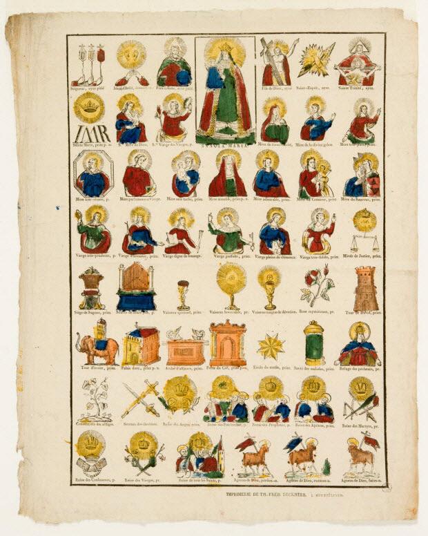 imagerie ancienne - Planche religieuse : litanies
