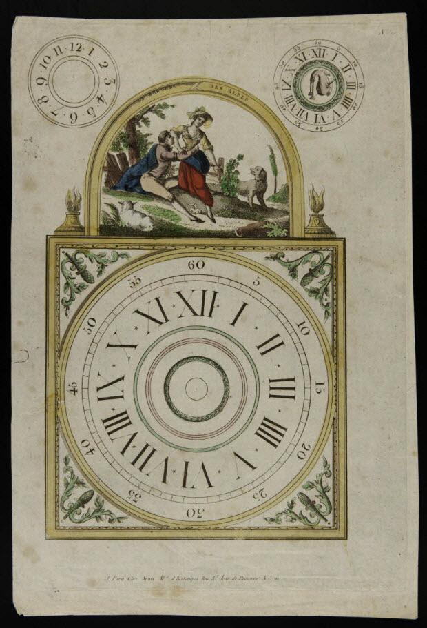 imagerie ancienne - Cadran d'horloge : la bergère des Alpes