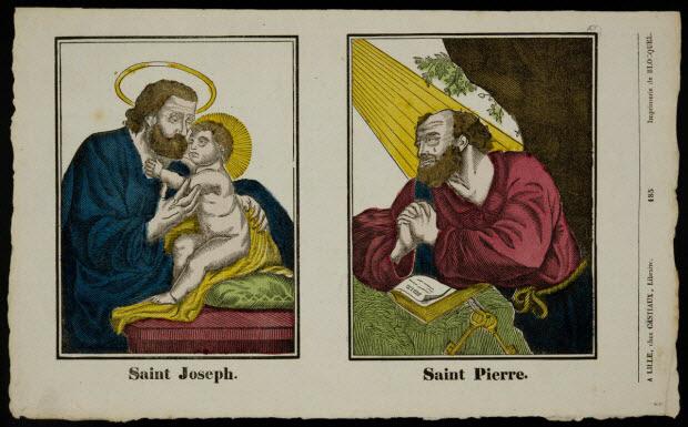 imagerie ancienne - Saint Joseph. Saint Pierre.