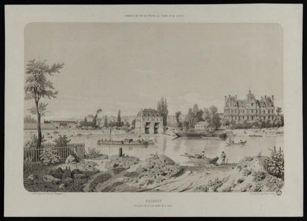 estampe - CHEMINS DE FER DE ROUEN, DU HAVRE ET DE DIEPPE. MAISONS Vue prise de la rive droite de la Seine.